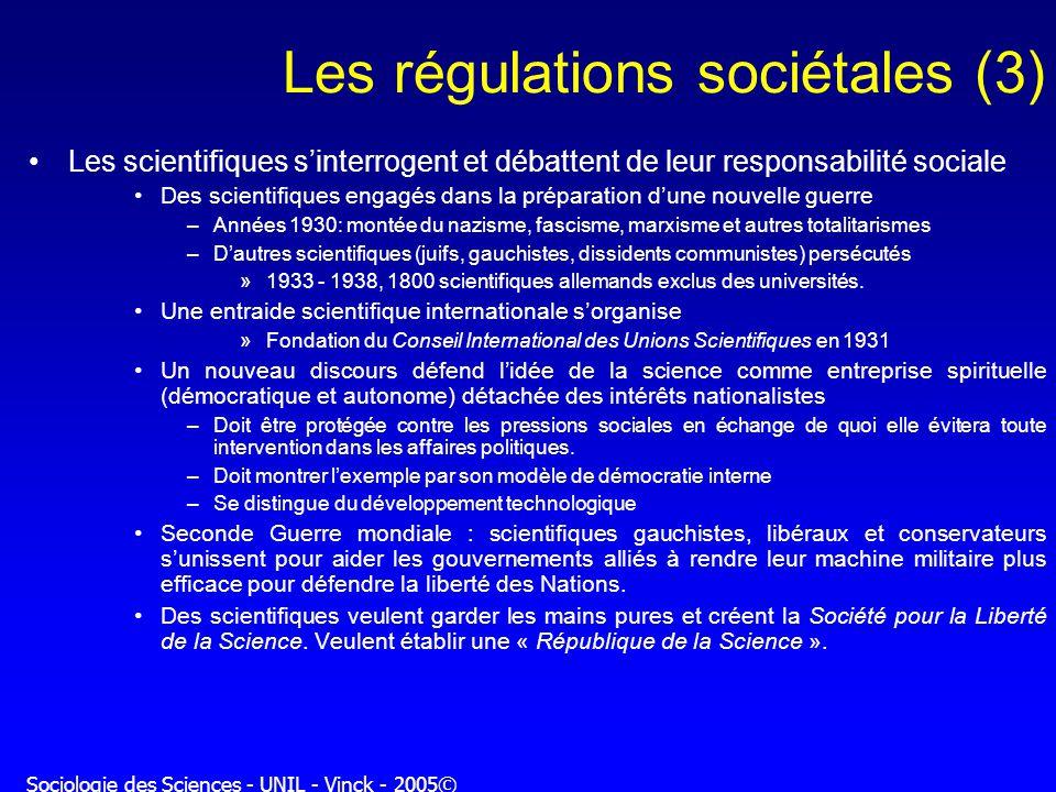 Les régulations sociétales (3)
