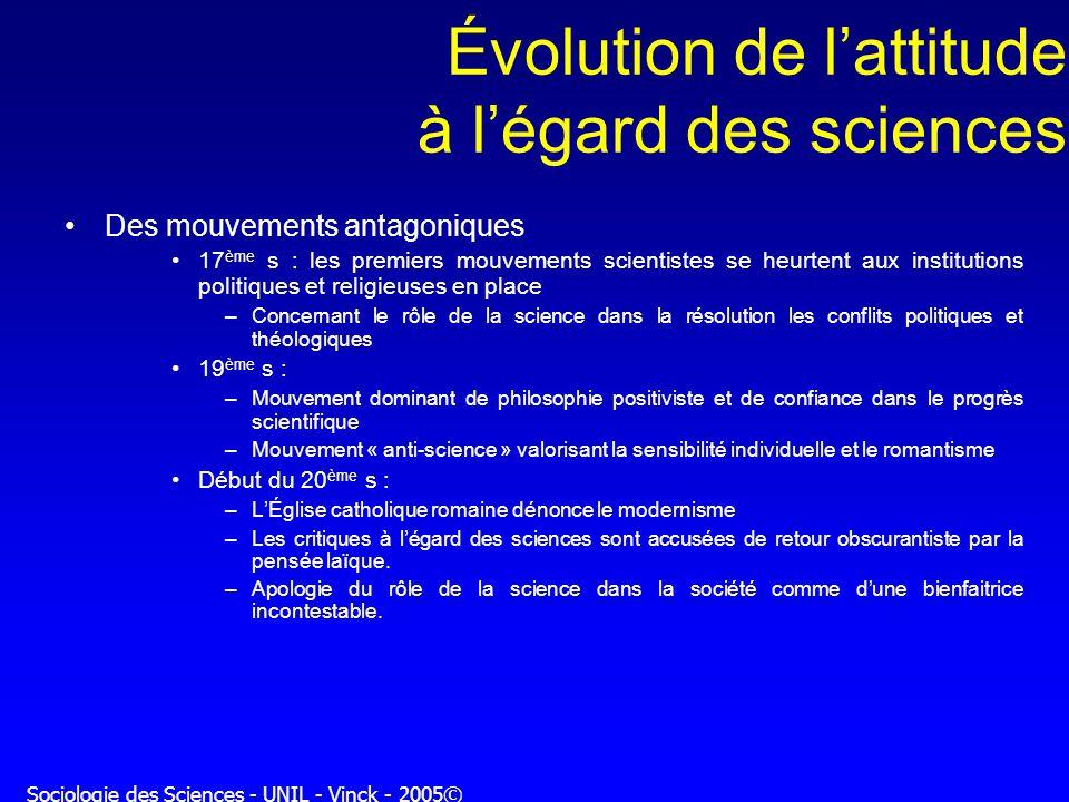 Évolution de l'attitude à l'égard des sciences