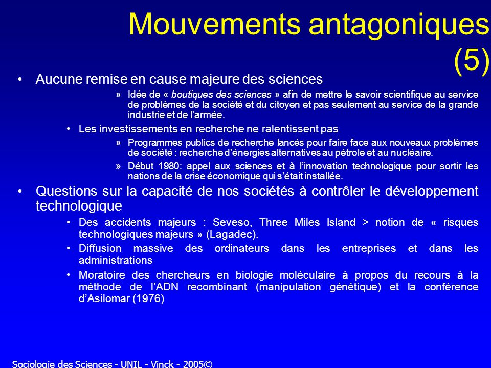 Mouvements antagoniques (5)
