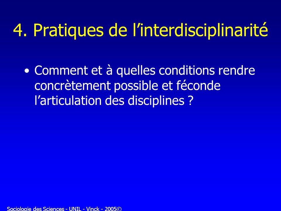 4. Pratiques de l'interdisciplinarité