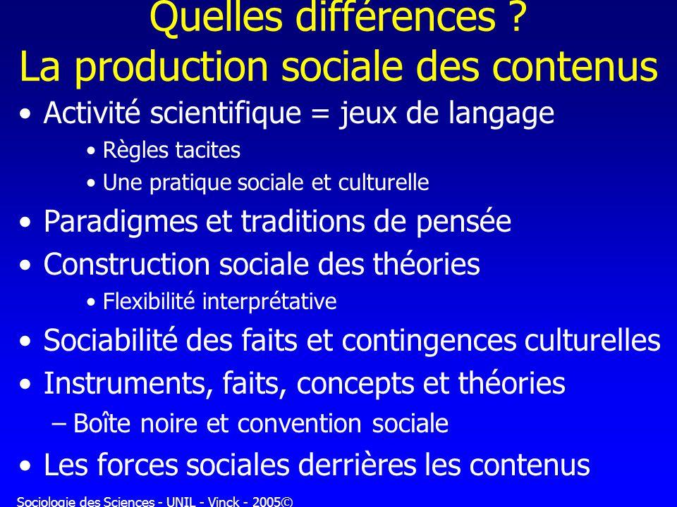 Quelles différences La production sociale des contenus