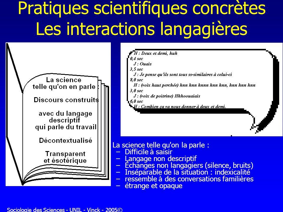 Pratiques scientifiques concrètes Les interactions langagières