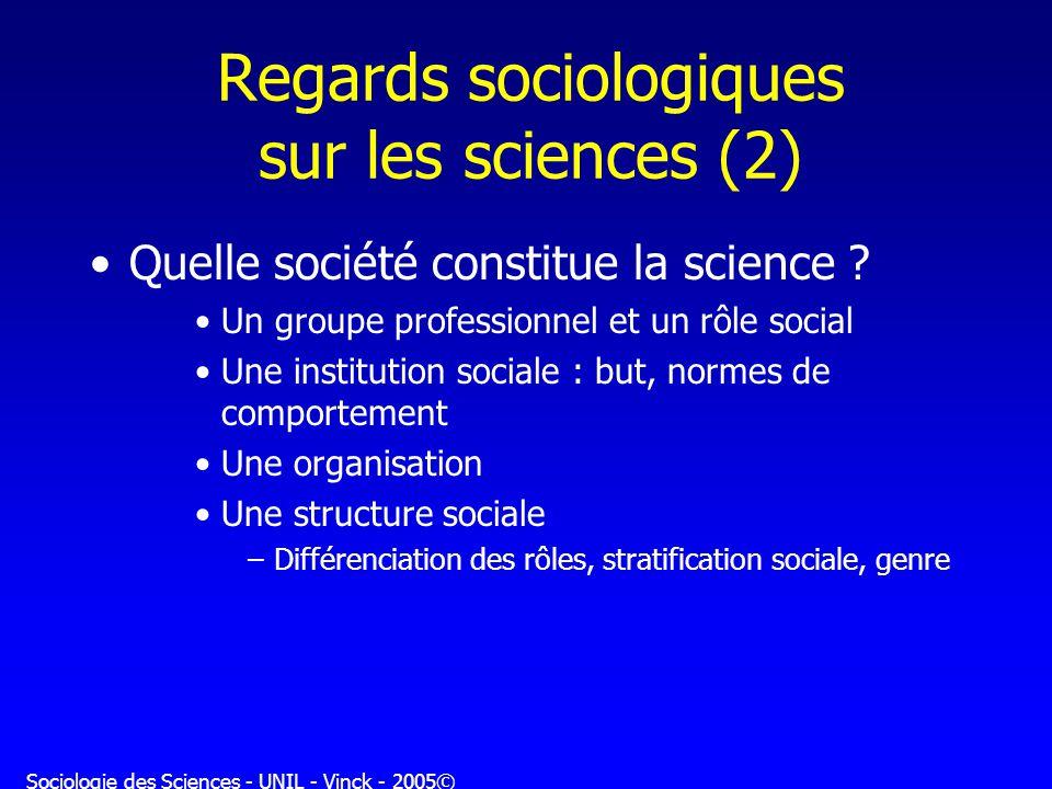 Regards sociologiques sur les sciences (2)