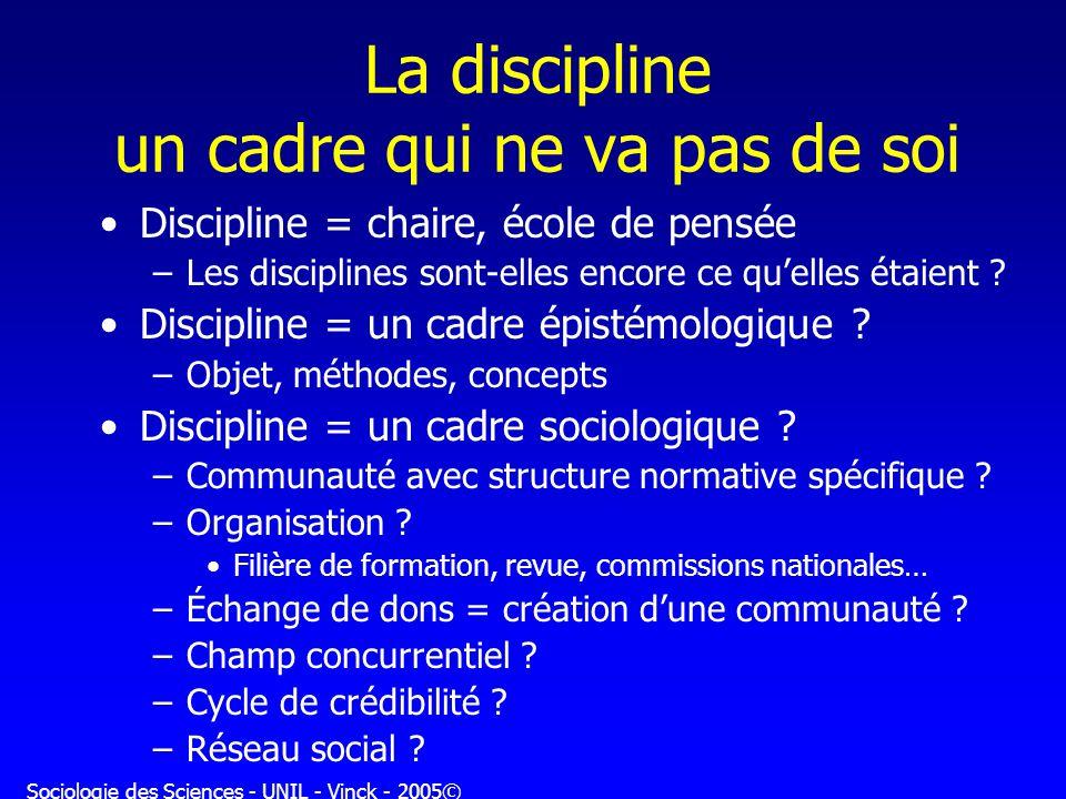 La discipline un cadre qui ne va pas de soi