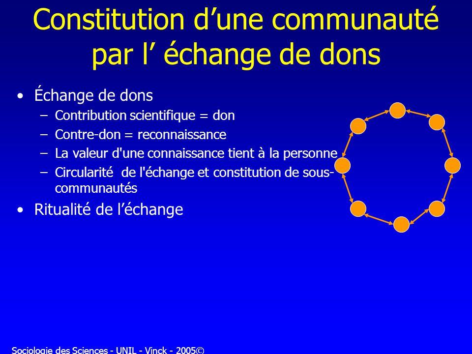 Constitution d'une communauté par l' échange de dons