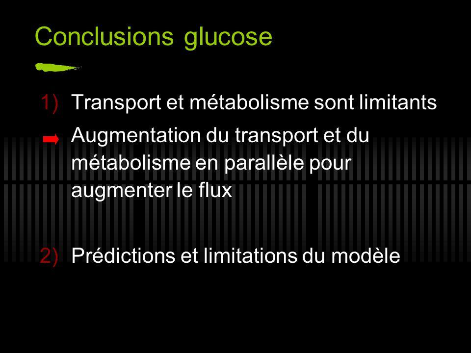 Conclusions glucose Transport et métabolisme sont limitants