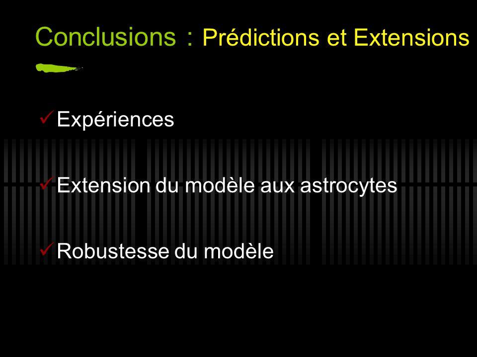 Conclusions : Prédictions et Extensions Expériences