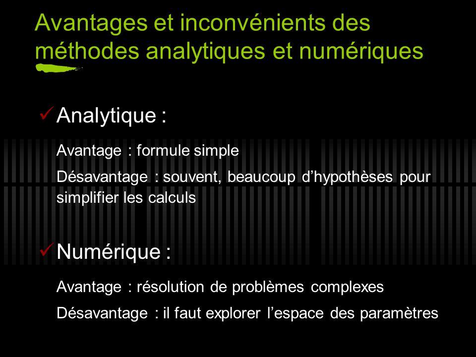 Avantages et inconvénients des méthodes analytiques et numériques