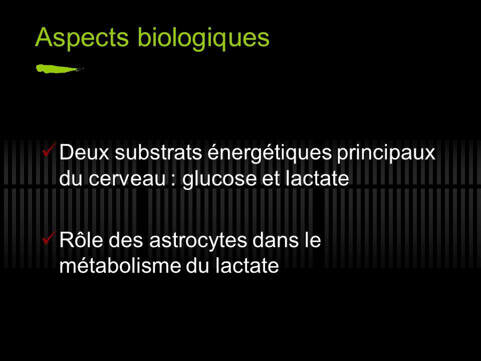 Aspects biologiques Deux substrats énergétiques principaux du cerveau : glucose et lactate.