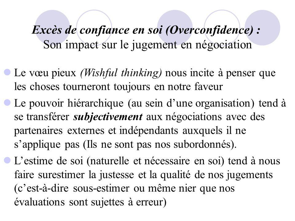 Excès de confiance en soi (Overconfidence) : Son impact sur le jugement en négociation