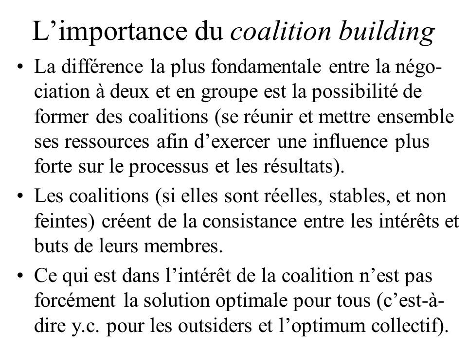 L'importance du coalition building