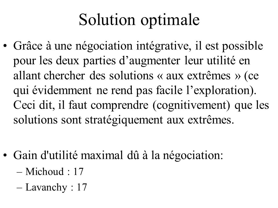 Solution optimale