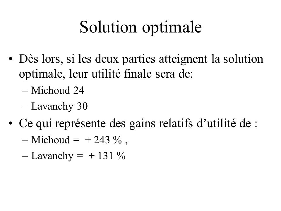 Solution optimale Dès lors, si les deux parties atteignent la solution optimale, leur utilité finale sera de: