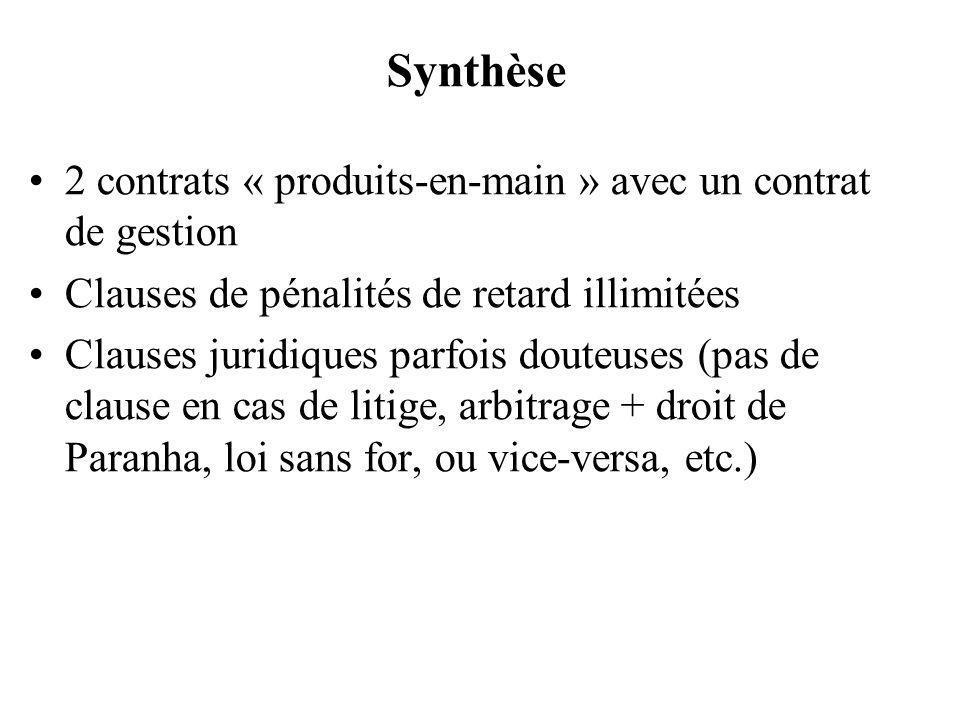 Synthèse 2 contrats « produits-en-main » avec un contrat de gestion