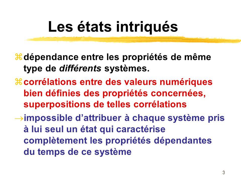 Les états intriqués dépendance entre les propriétés de même type de différents systèmes.