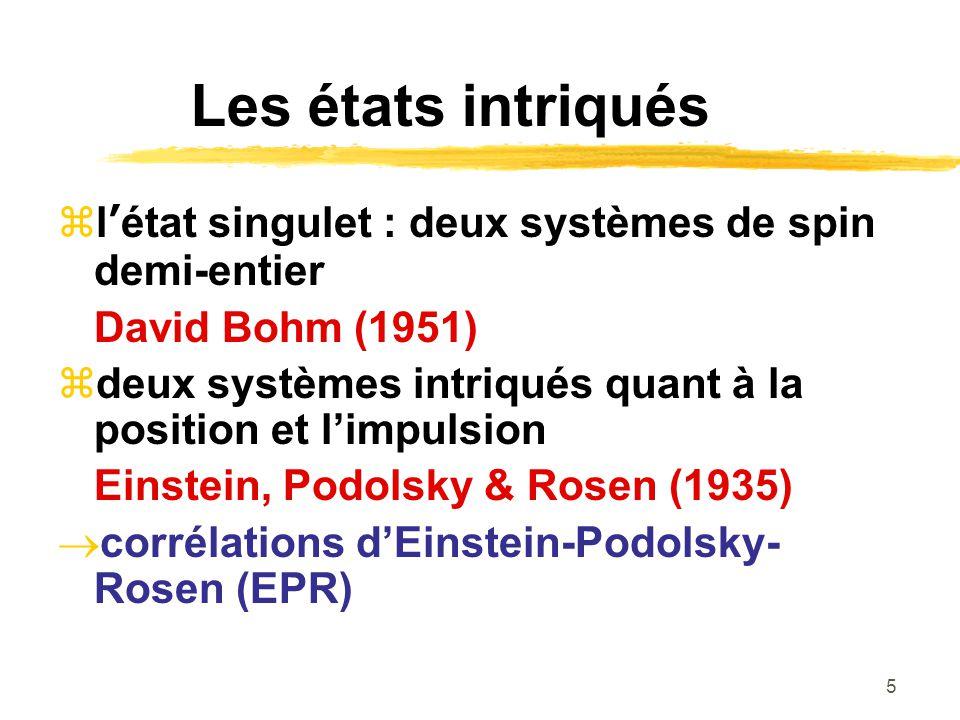 Les états intriqués l'état singulet : deux systèmes de spin demi-entier. David Bohm (1951)