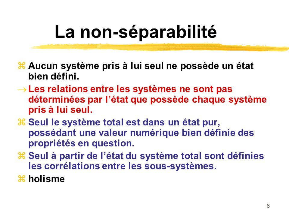 La non-séparabilité Aucun système pris à lui seul ne possède un état bien défini.