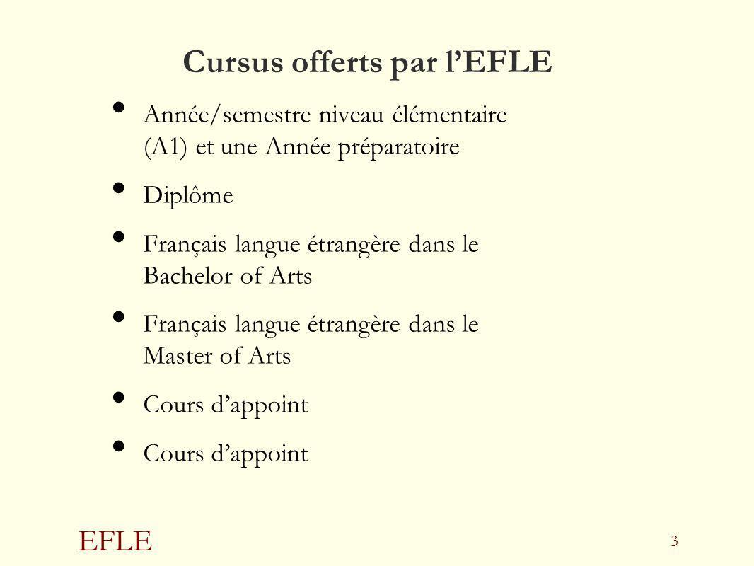 Cursus offerts par l'EFLE