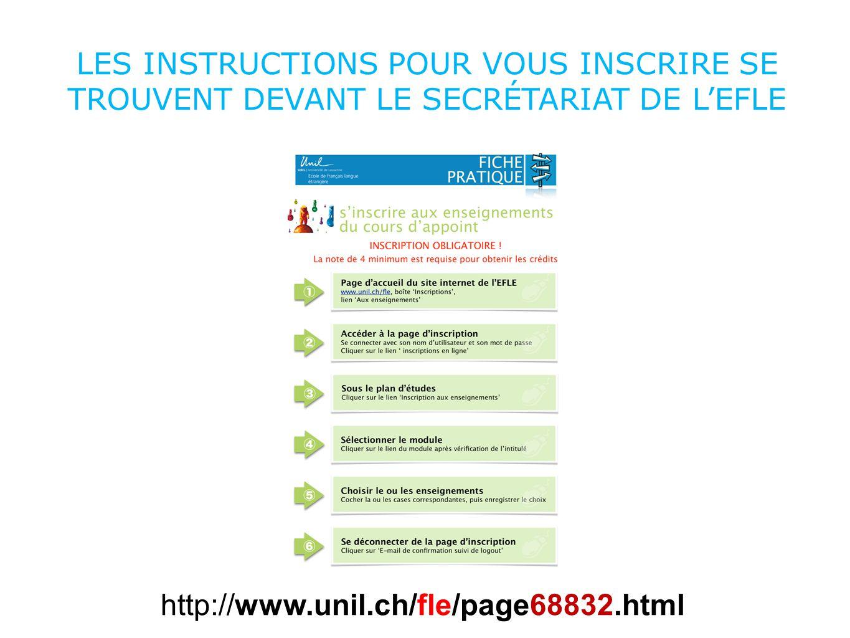 LA FICHE PRATIQUE SE TROUVE AUSSI SUR LE SITE www.unil.ch/fle