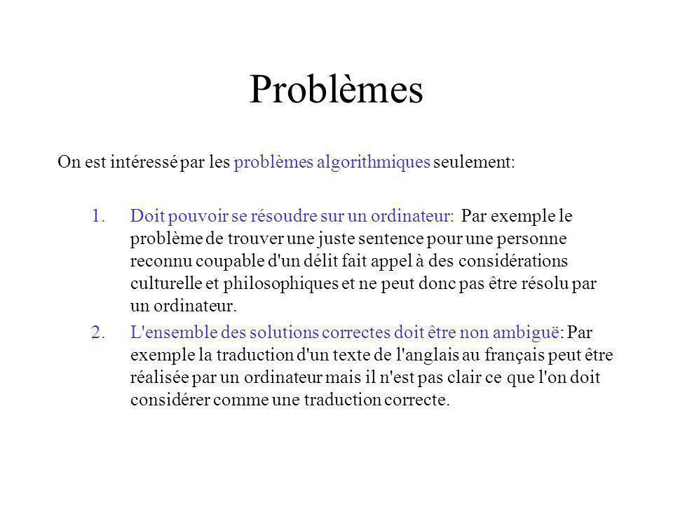 Problèmes On est intéressé par les problèmes algorithmiques seulement: