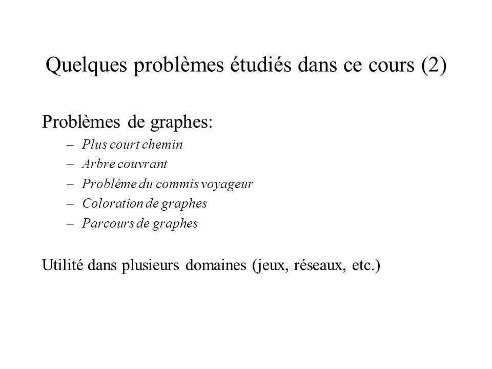 Quelques problèmes étudiés dans ce cours (2)
