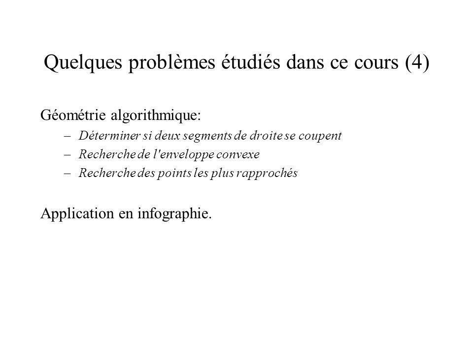 Quelques problèmes étudiés dans ce cours (4)