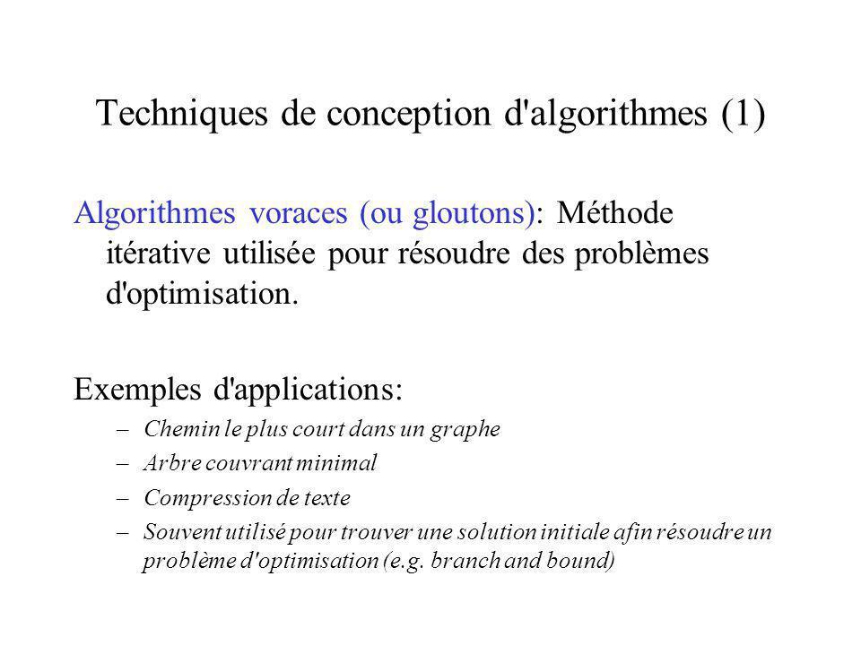 Techniques de conception d algorithmes (1)