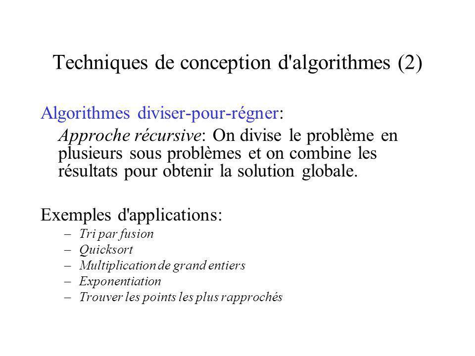Techniques de conception d algorithmes (2)