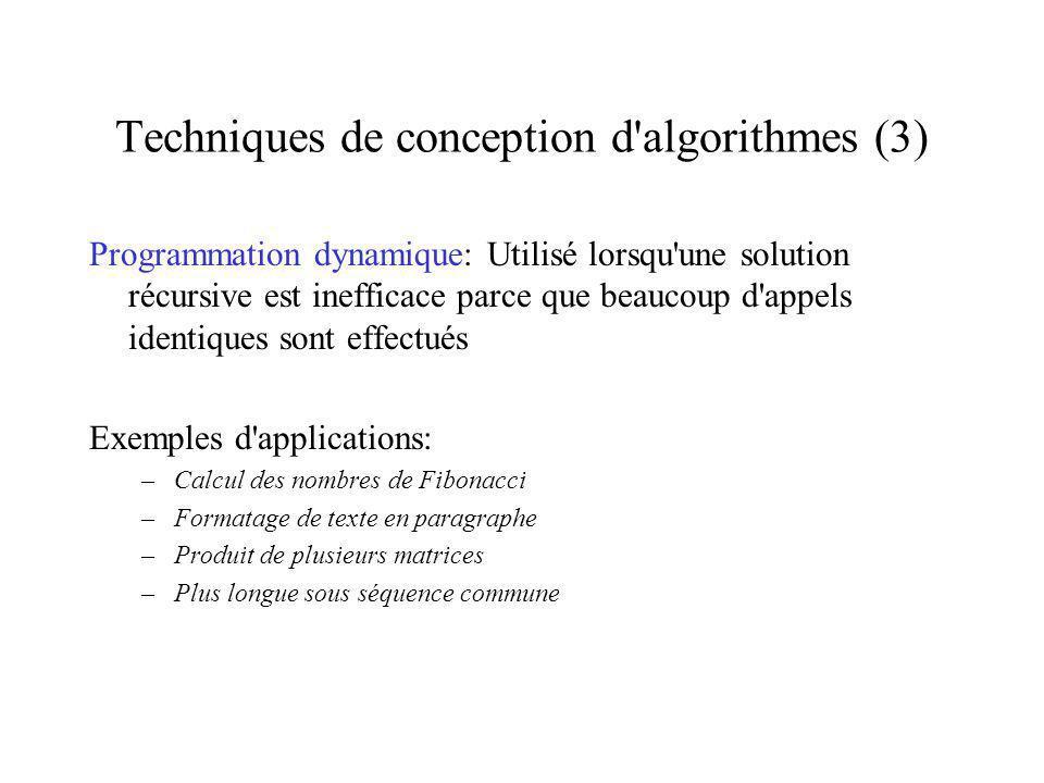 Techniques de conception d algorithmes (3)