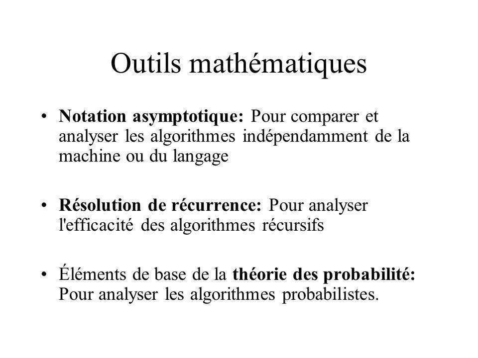 Outils mathématiques Notation asymptotique: Pour comparer et analyser les algorithmes indépendamment de la machine ou du langage.