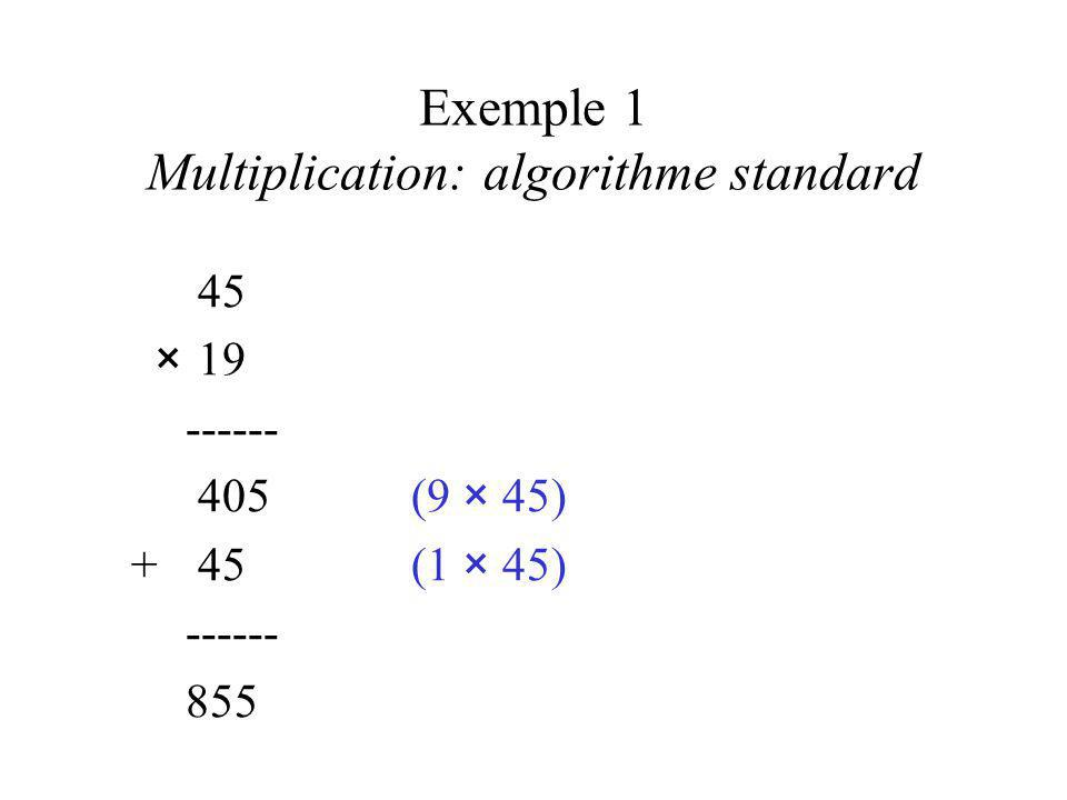 Exemple 1 Multiplication: algorithme standard