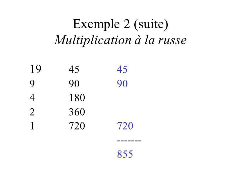 Exemple 2 (suite) Multiplication à la russe