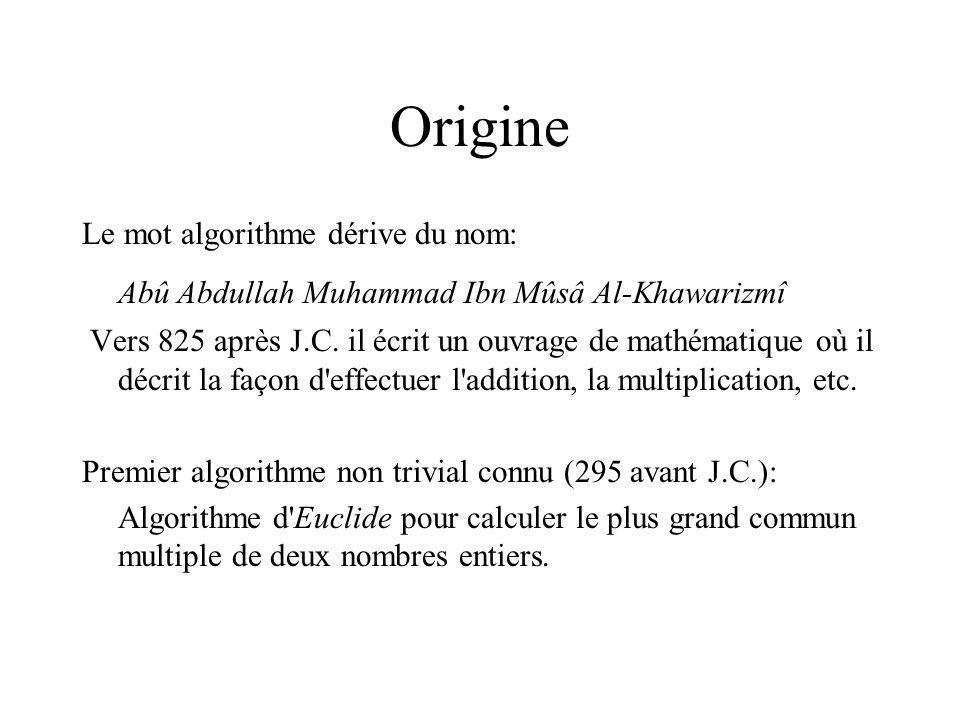 Origine Le mot algorithme dérive du nom: