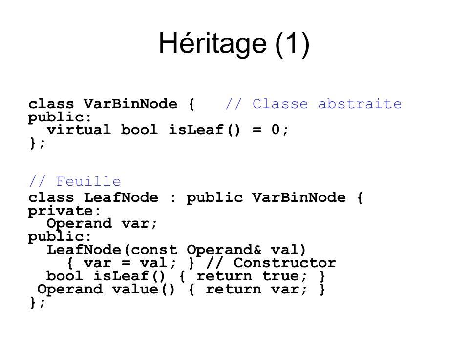 Héritage (1) class VarBinNode { // Classe abstraite public: