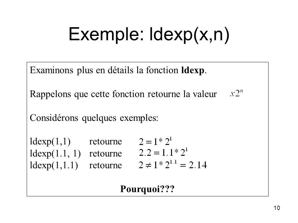 Exemple: ldexp(x,n) Examinons plus en détails la fonction ldexp.