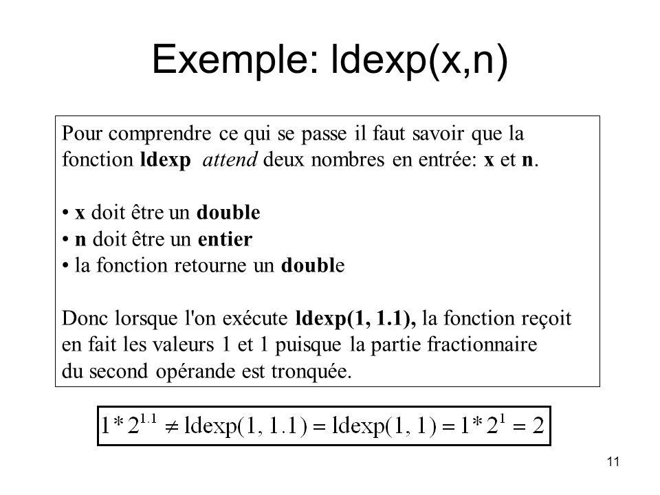 Exemple: ldexp(x,n) Pour comprendre ce qui se passe il faut savoir que la fonction ldexp attend deux nombres en entrée: x et n.