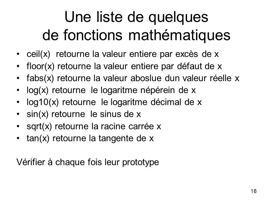 Une liste de quelques de fonctions mathématiques