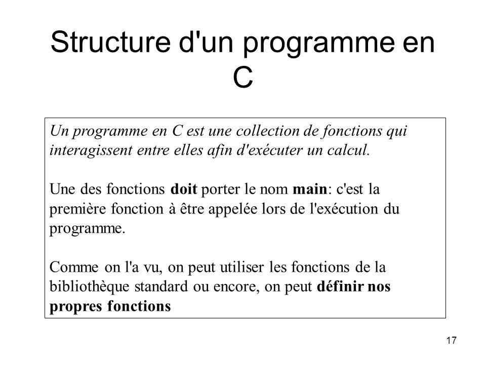 Structure d un programme en C