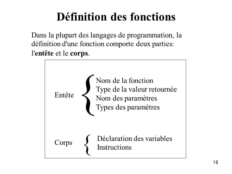{ { Définition des fonctions
