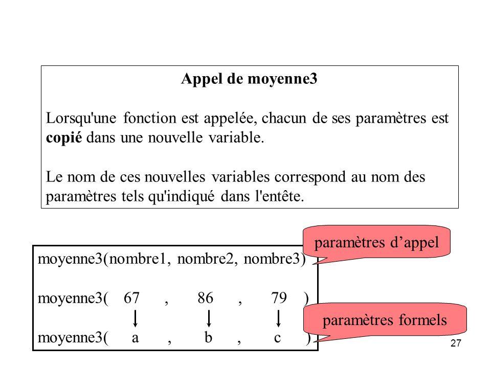Appel de moyenne3 Lorsqu une fonction est appelée, chacun de ses paramètres est copié dans une nouvelle variable.