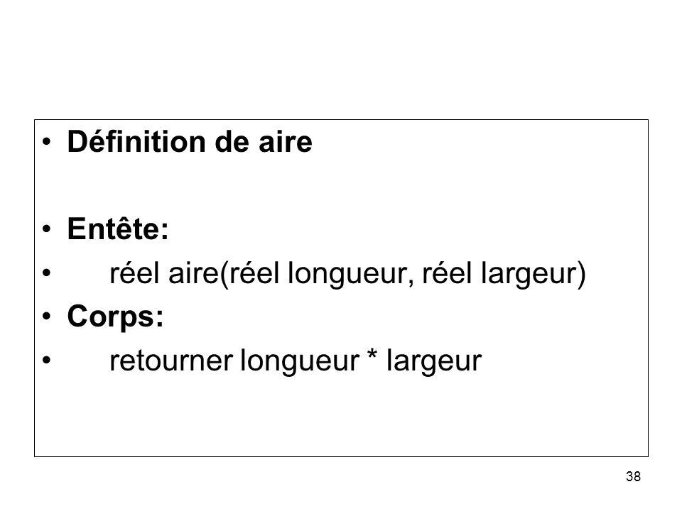 Définition de aire Entête: réel aire(réel longueur, réel largeur) Corps: retourner longueur * largeur.