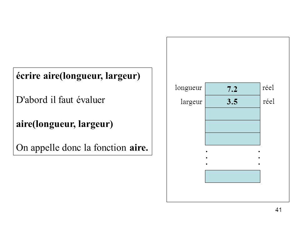 écrire aire(longueur, largeur) D abord il faut évaluer