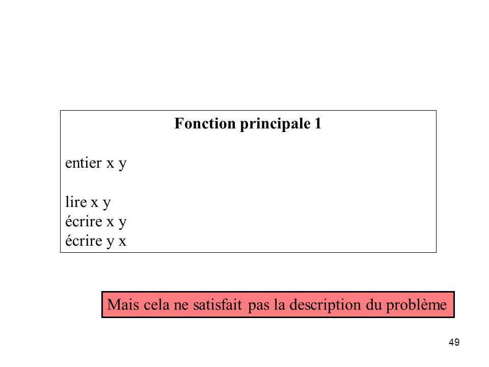 Fonction principale 1 entier x y. lire x y. écrire x y.