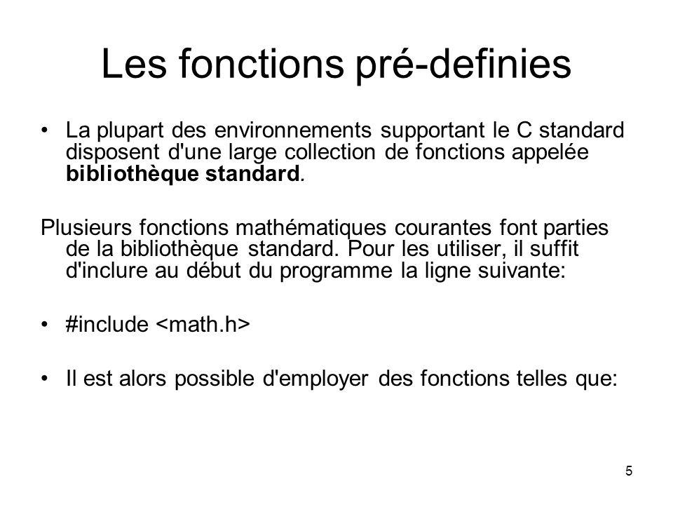 Les fonctions pré-definies