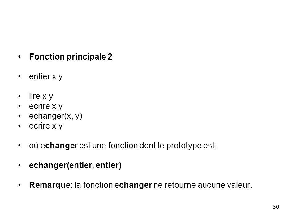 Fonction principale 2 entier x y. lire x y. ecrire x y. echanger(x, y) où echanger est une fonction dont le prototype est:
