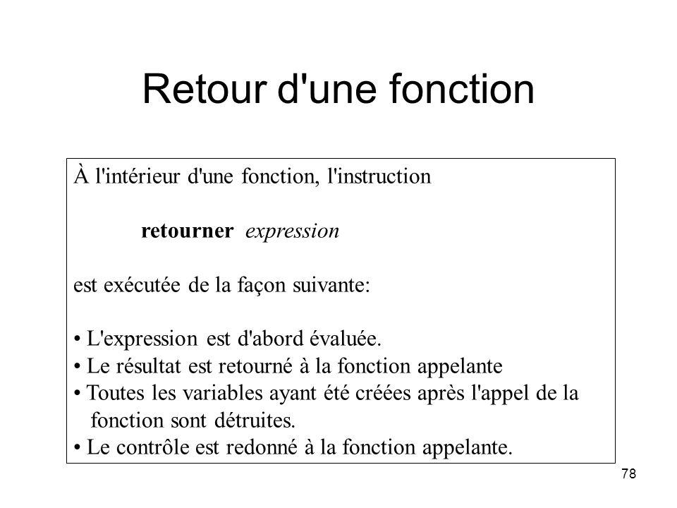 Retour d une fonction À l intérieur d une fonction, l instruction