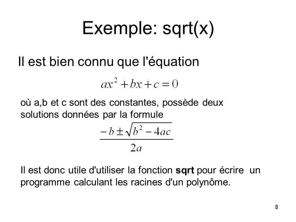 Exemple: sqrt(x) Il est bien connu que l équation