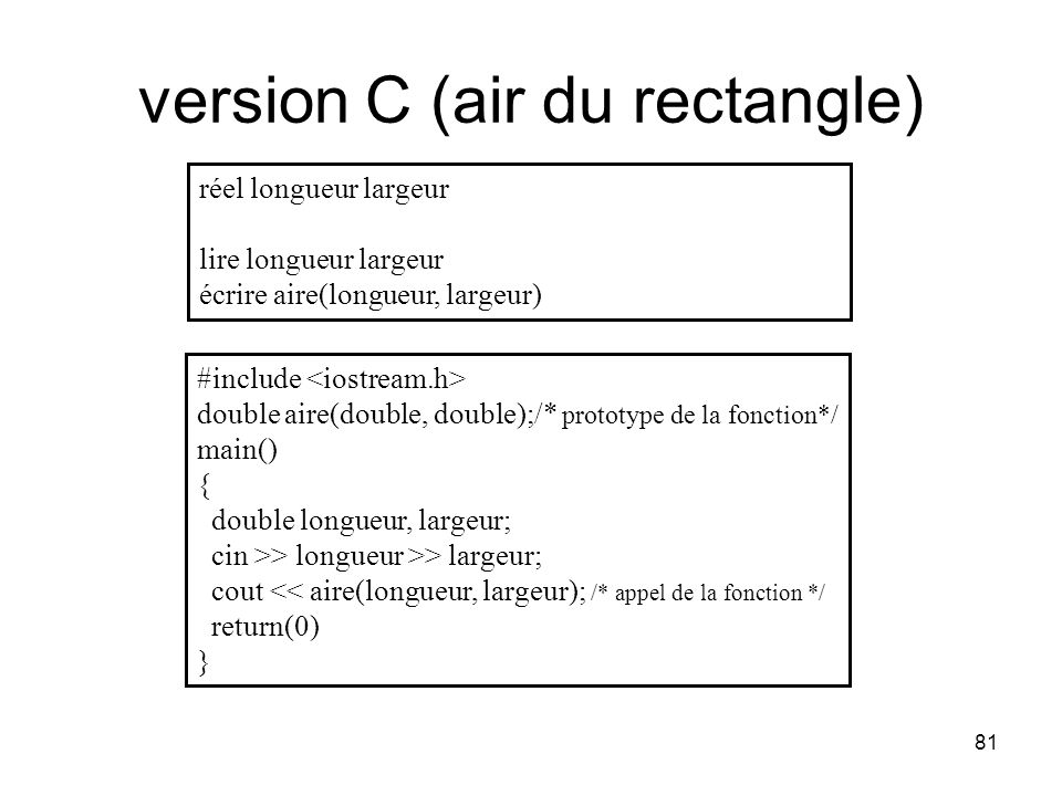 version C (air du rectangle)