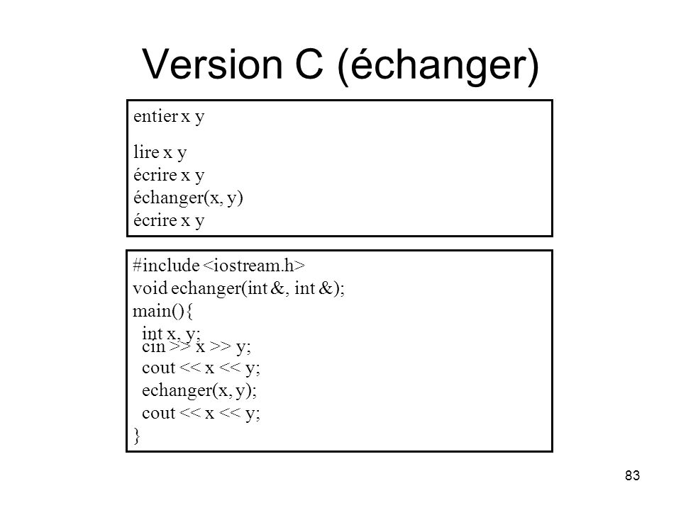 Version C (échanger) entier x y lire x y écrire x y échanger(x, y)