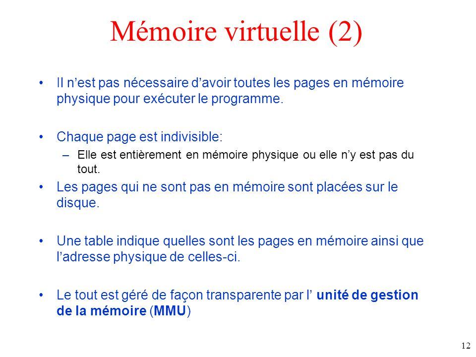 Mémoire virtuelle (2) Il n'est pas nécessaire d'avoir toutes les pages en mémoire physique pour exécuter le programme.